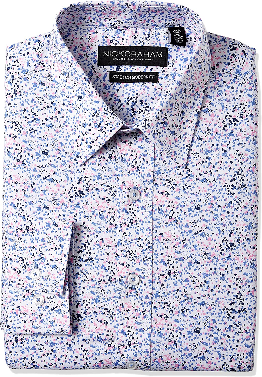 Nick Graham Men's Floral Performance Stretch Cotton Blend Dress Shirt