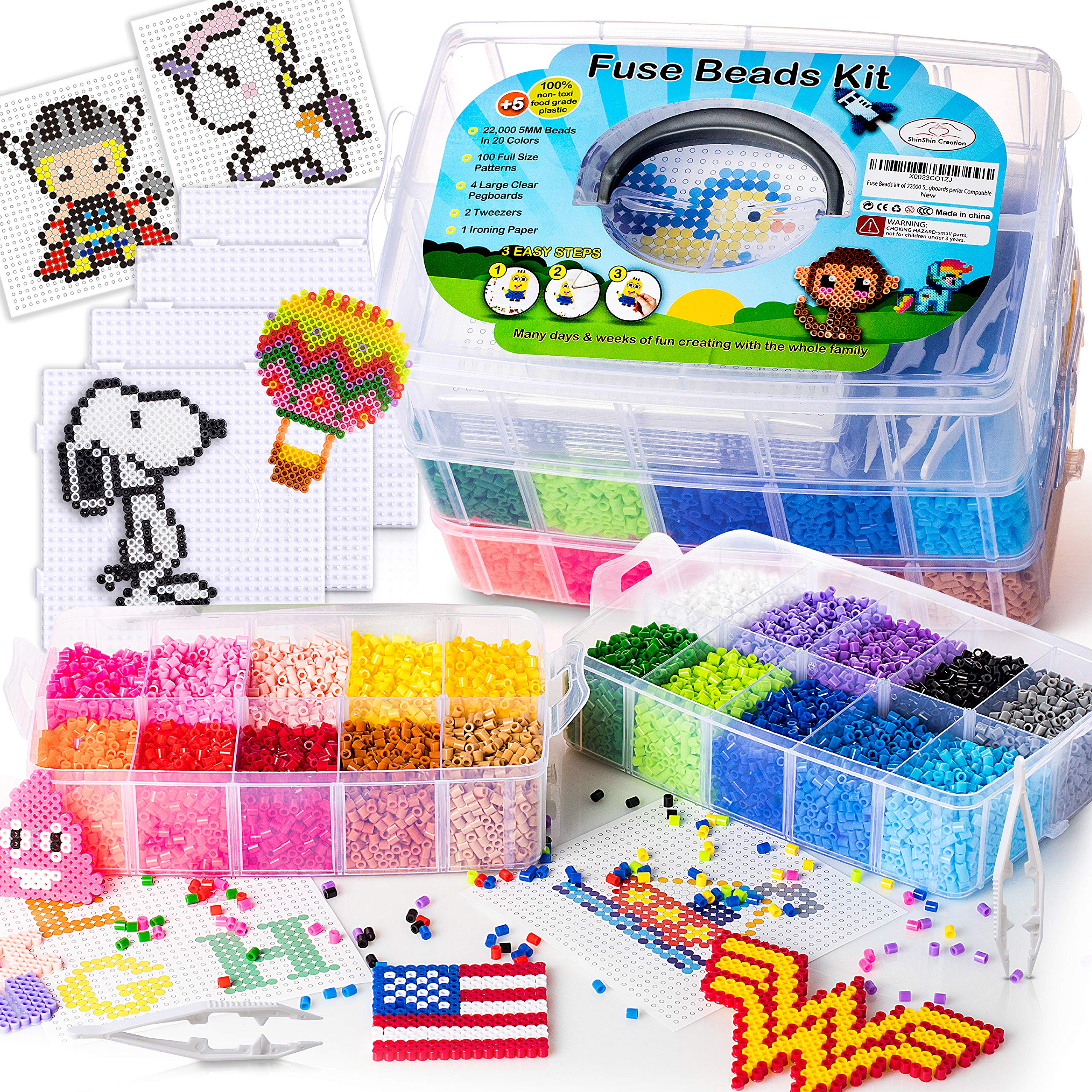 Fuse Beads Kit by ShinShin Creation: 22,000 Beads 5mm with 100 Full Size Patterns, 20 Pre-Sorted Colors, 4 Big Square Clear Pegboards, 2 Tweezers and Ironing Paper, Perler Beads Compatible by shinshin creation