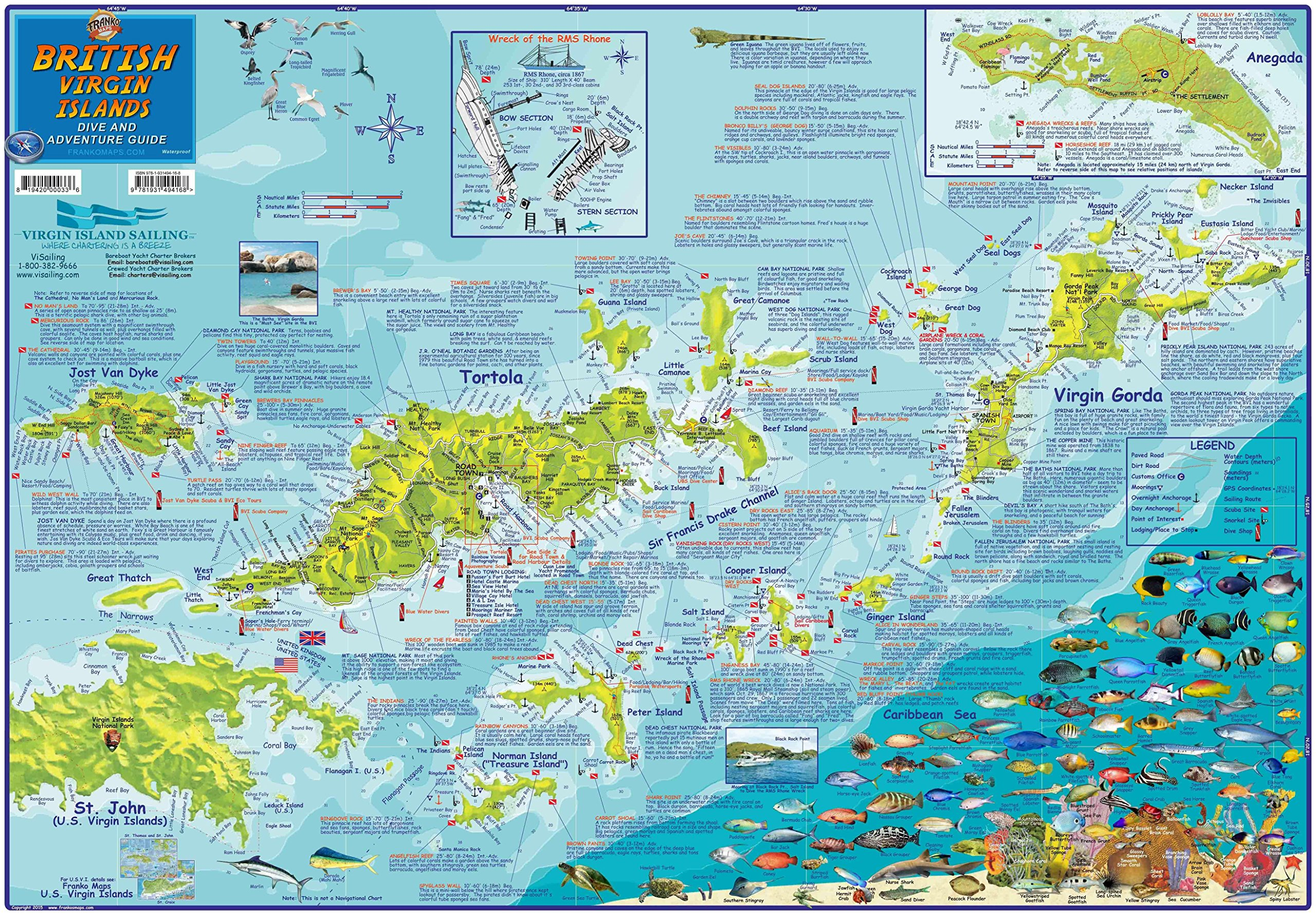 British Virgin Islands BVI Adventure & Dive Map Franko Maps ...
