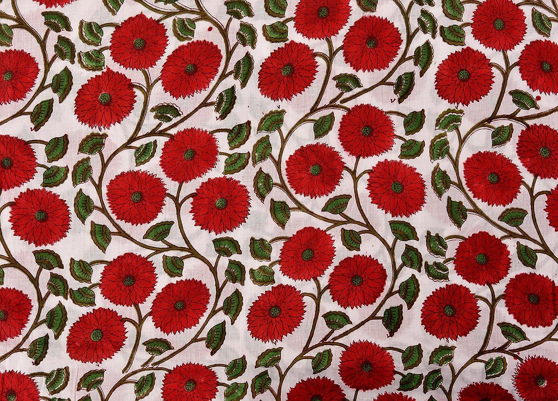 Indian Cotton Fabric 3 yard Handmade Gold Running Sewing Hand Block Print Craft