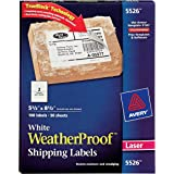 """Avery WeatherProof Mailing Labels with TrueBlock Technology for Laser Printers 5-1/2"""" x 8-1/2"""", Box of 100 (5526)"""