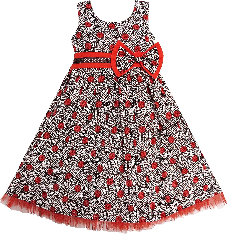 Vestido para niña Castaño Corbata de moño Volantes Recortar ...