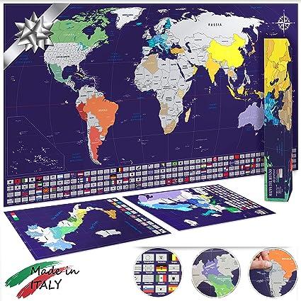 Cartina Italia Amazon.Mappa Del Mondo Da Grattare Xl 82x44cm Mappe Di Italia E Europa 33x23cm Made In Italy Idea Regalo Blu Argento Amazon It Cancelleria E Prodotti Per Ufficio