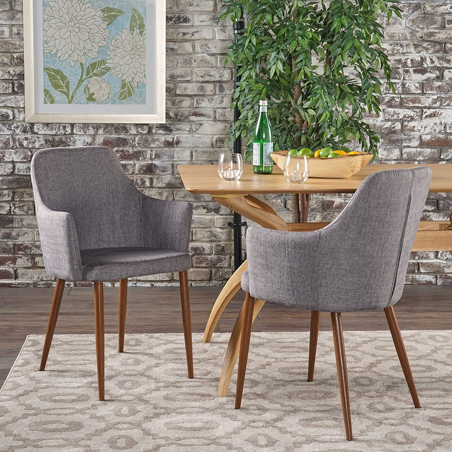 Christopher Knight Home 301733 Dining Chairs, Light Grey Dark Brown