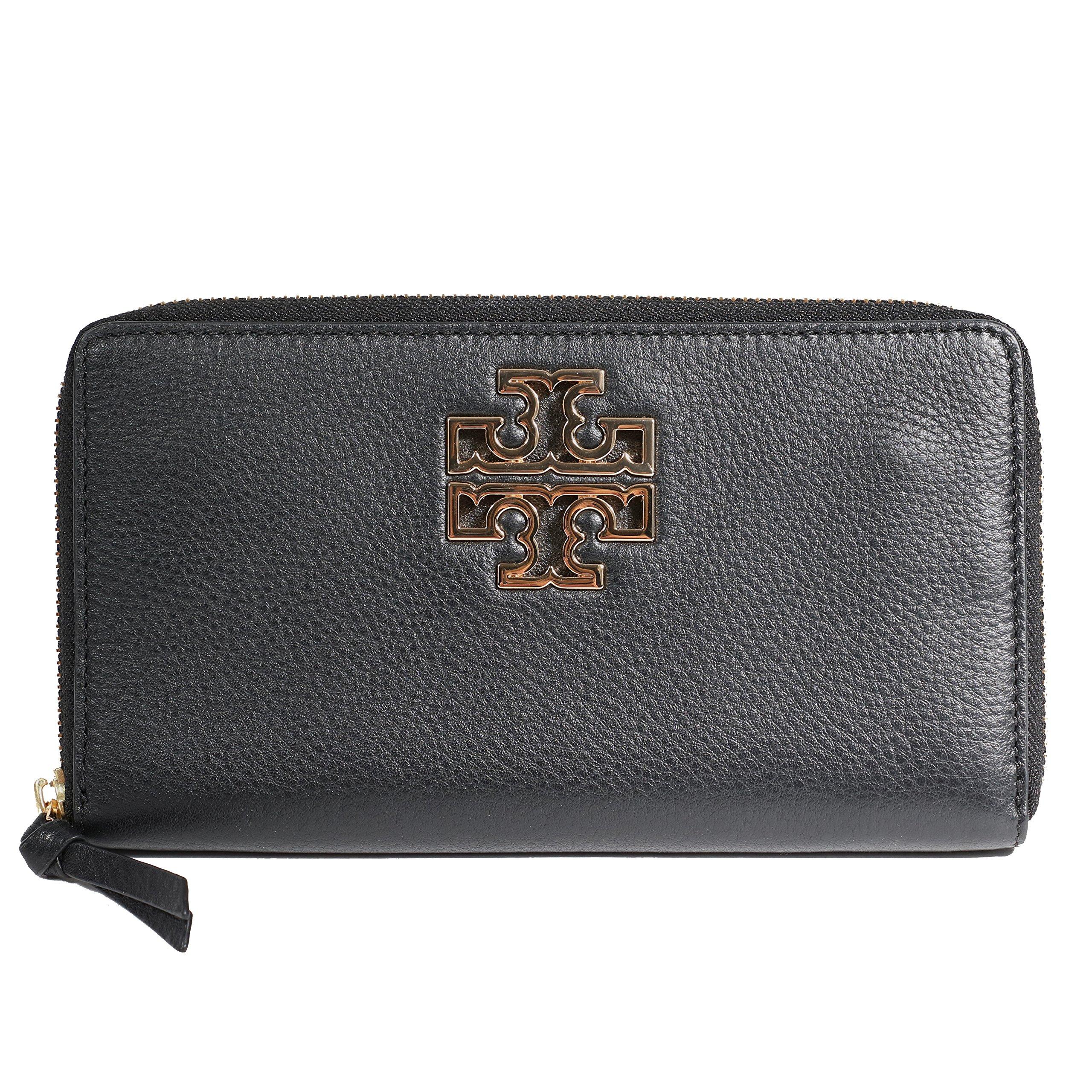 Tory Burch Britten Zip Continental Wallet TB Logo (Black)