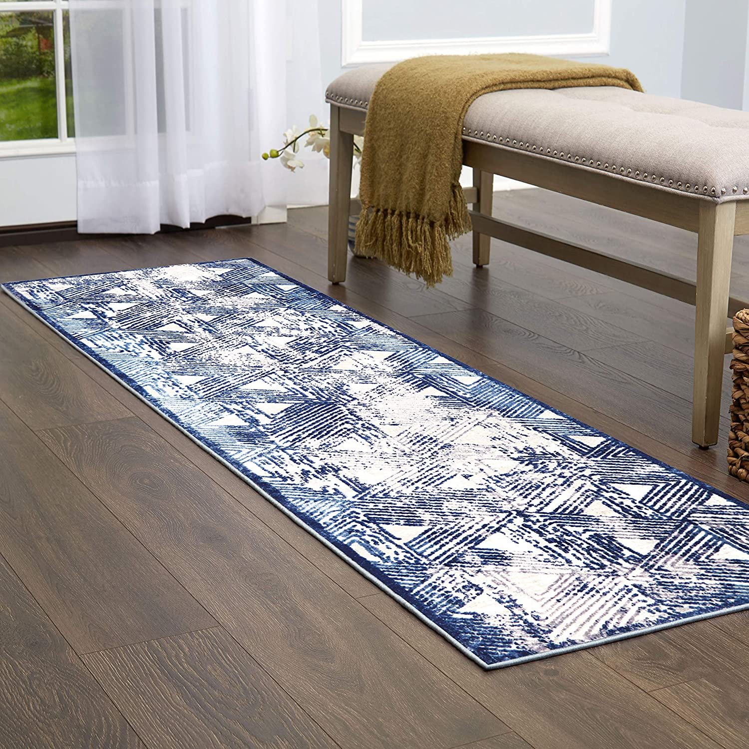 "Home Dynamix NM_Kenmare_2ft2inx7ft_ Runner Area Rug, 2'2""x7'2"", Distressed Blue/Gray"