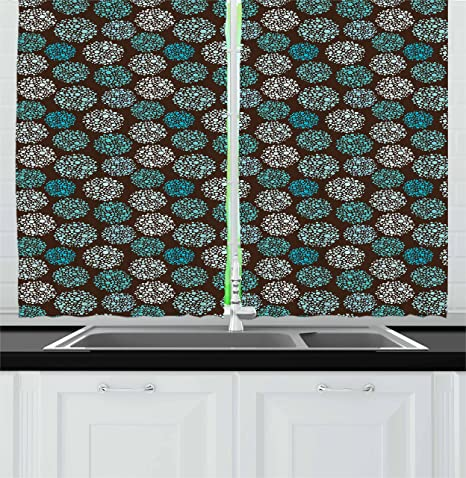 Amazon Com Ambesonne Brown And Blue Kitchen Curtains Dots Forming Oval Shapes Retro Style Abstract Geometric Vintage Window Drapes 2 Panel Set For Cafe Decor 55 X 39 Turquoise White Home