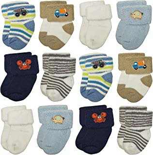 RATIVE Newborn 0-3 Months Terry Cozy Socks For Unisex Baby Boys and Girls