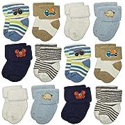 RATIVE Newborn Hospital Terry Turn Cuff Socks For Baby Boys and Girls (Newborn, 12-pairs/boy assorted)