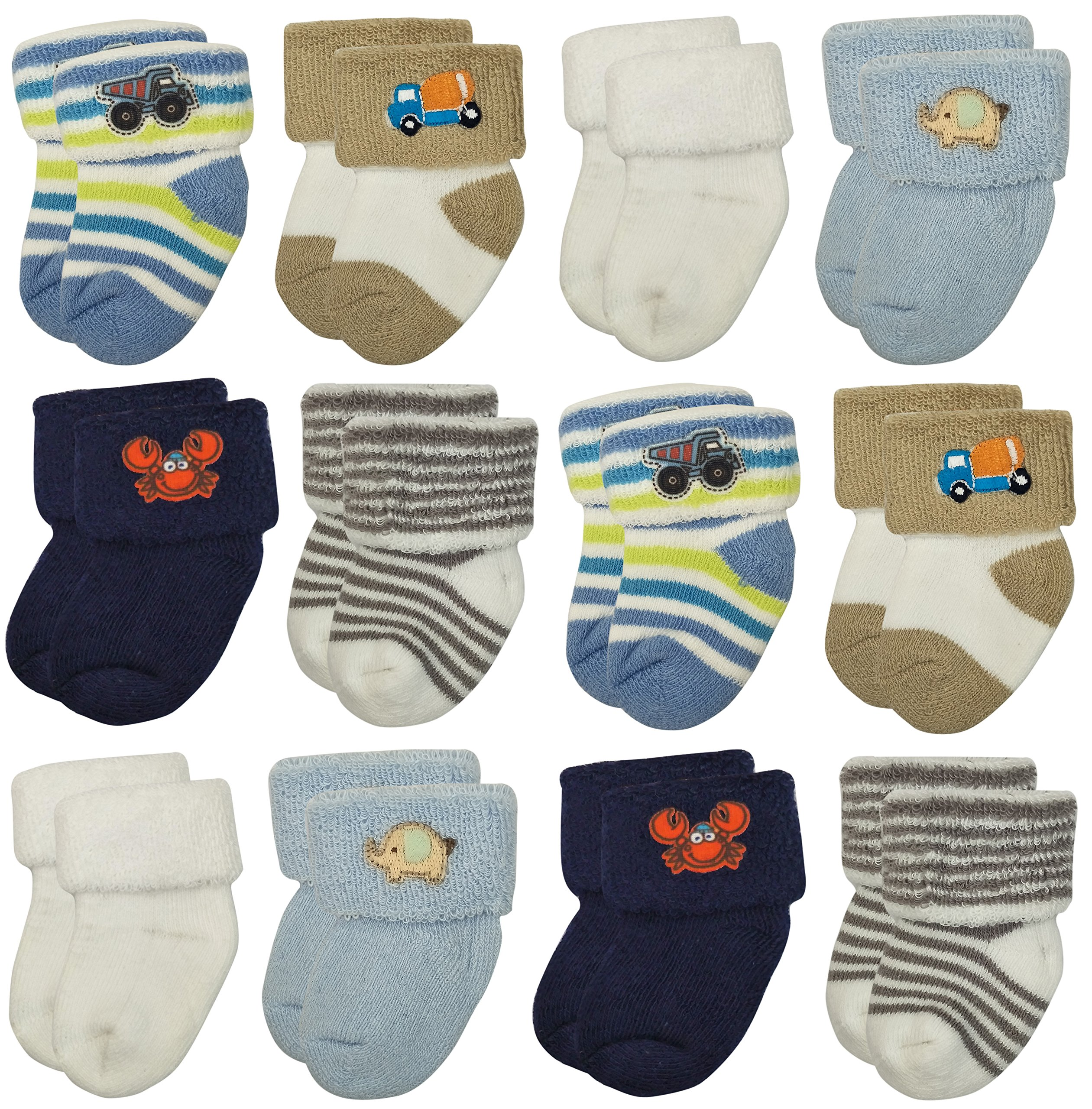 RATIVE Newborn Hospital Terry Turn Cuff Socks For Baby Boys and Girls (Newborn, 12-pairs/boy assorted)