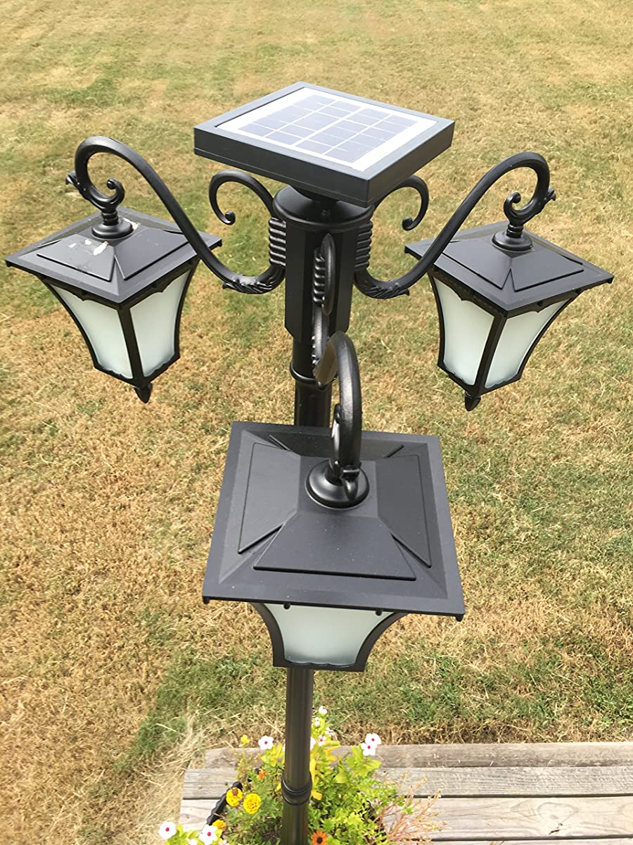 Heritage 3-Lamp Solar Powered Lamp Post with Flame Effect LED with 18.5 inch Planter