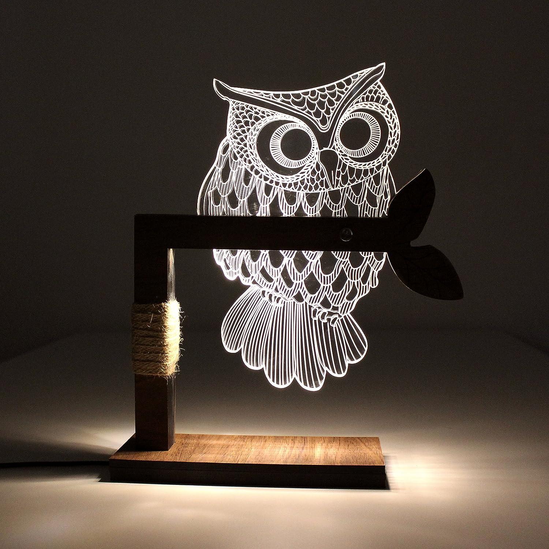 CozyWow Home 3D Owl Shape LED Desk Table Lamp Night Light US Plug ( Warm  White)     Amazon.com