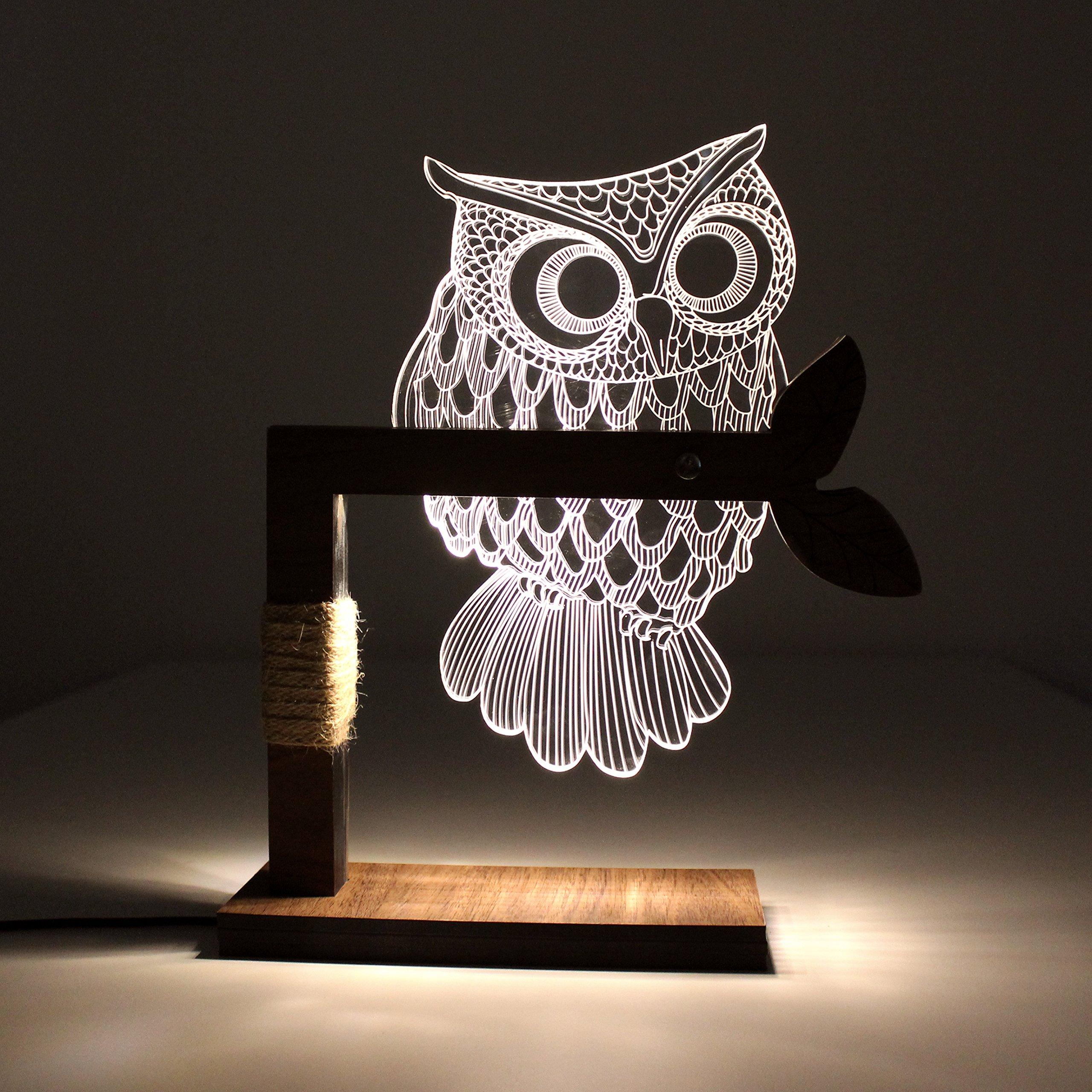 CozyWow Home 3D Owl Shape LED Desk Table Lamp Night Light US Plug ( Warm White)