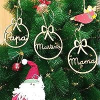 Adorno navidad árbol bola de madera personalizadas con cordel para colgar, Ornamento Decoraciones colgantes de Navidad…