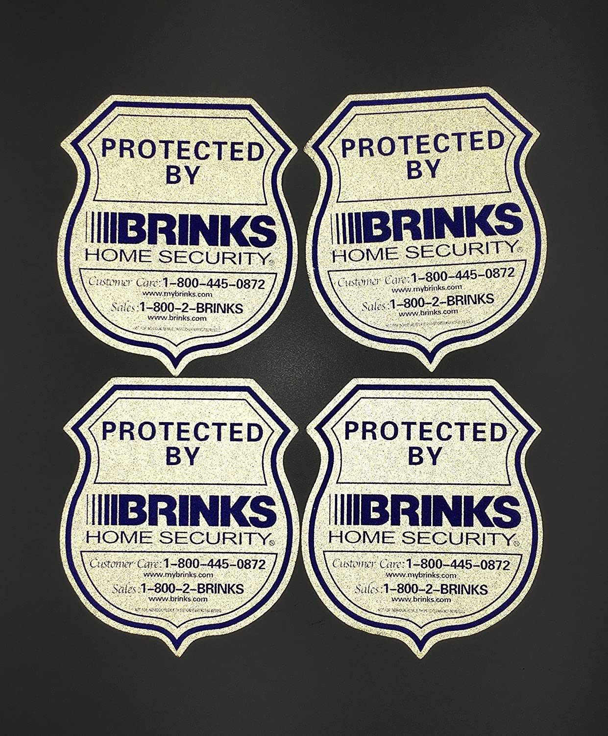 1 Authentic Home Security Yard Sign and 4 Reflective Stickers Brinks BK-1