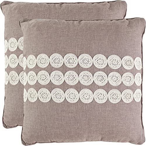 Safavieh Pillow Collection 22-Inch Embroidered Pillow, Taupe, Set of 2