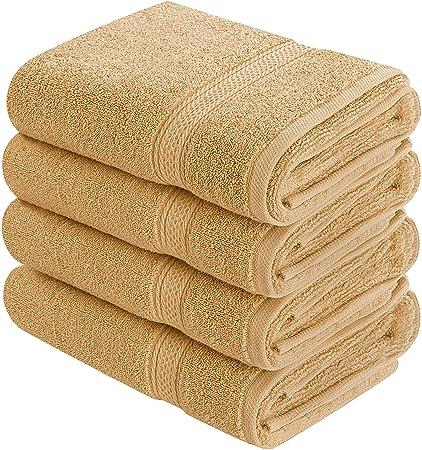 Utopía toallas 4 Premium toallas de mano, algodón, beige, 4 unidades