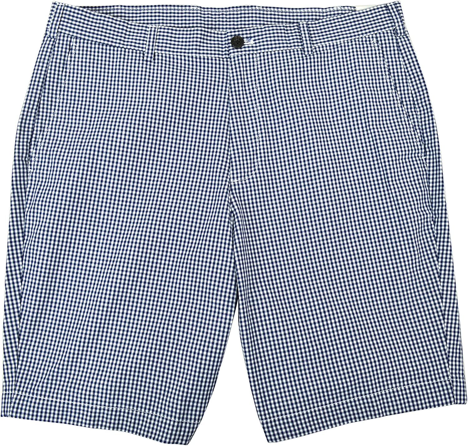 Brooks Brothers Mens Gingham Plaid Flat Front Casual Shorts Blue and White