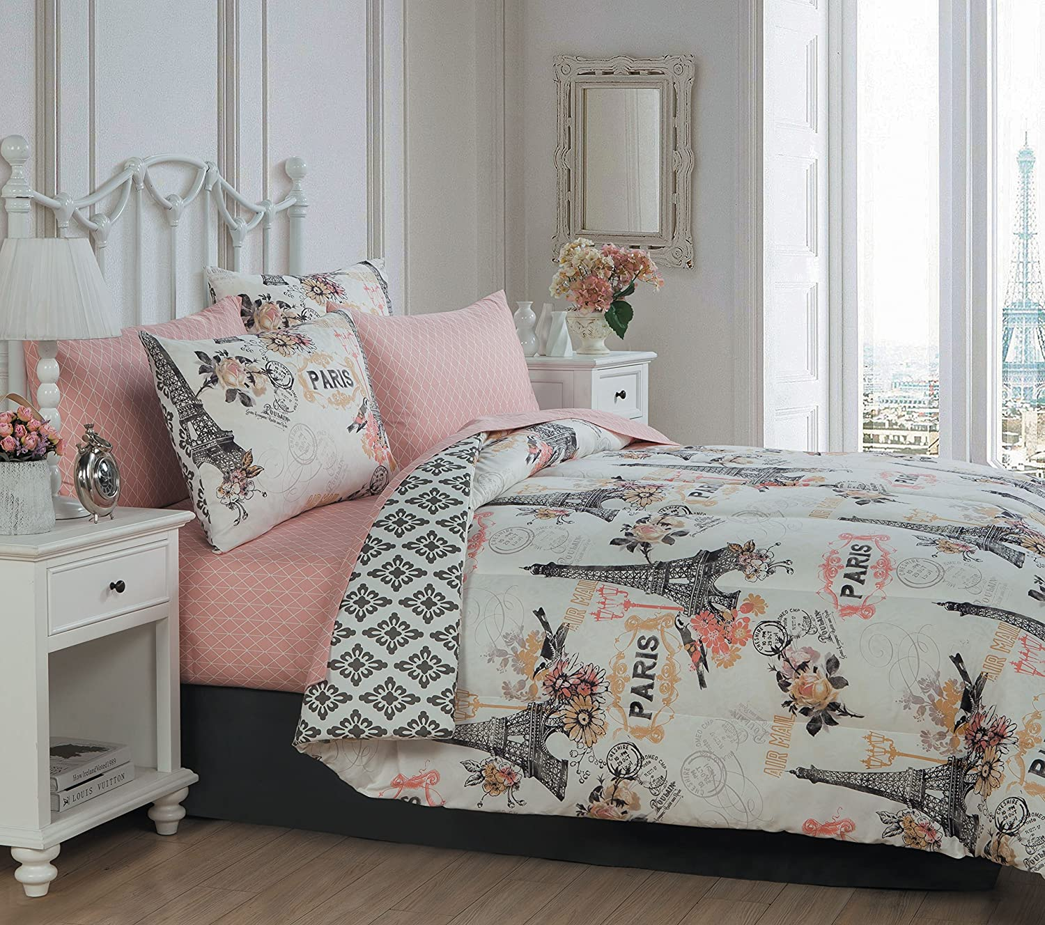 Avondale Manor 8-piece Cherie Comforter Set Queen, Coral