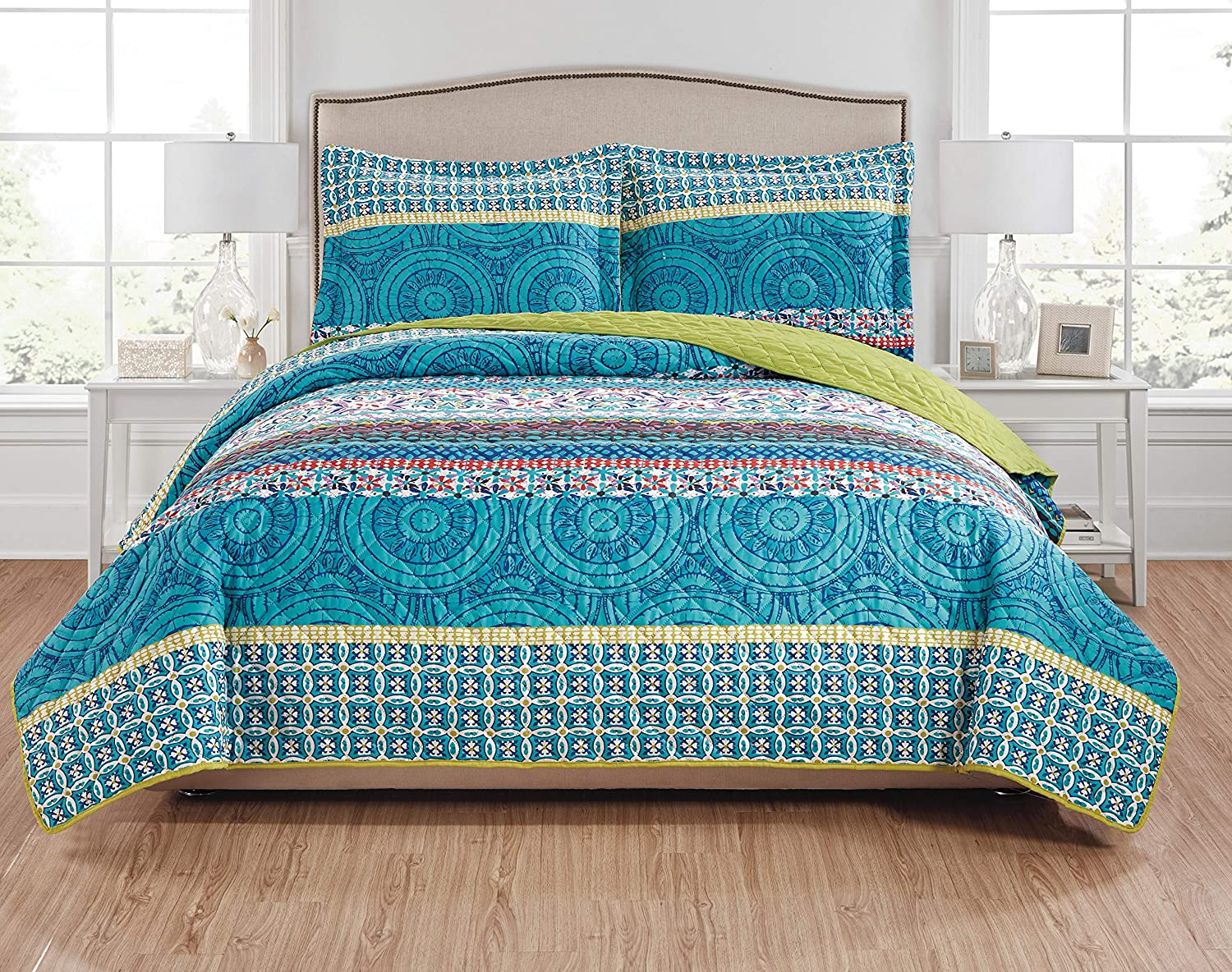 100/% Cotton Blue and White Floral Pattern Duvet Cover Set Full Queen Duvet Cover and 2 Pillowcases Included COMIN16JU028875