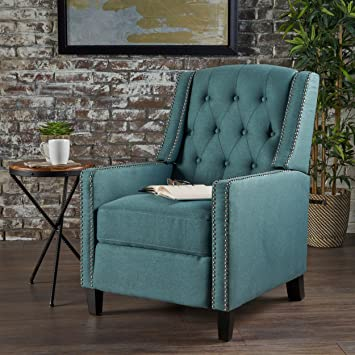 Bon Izaak Tufted Back Fabric Recliner Chair (Dark Teal)