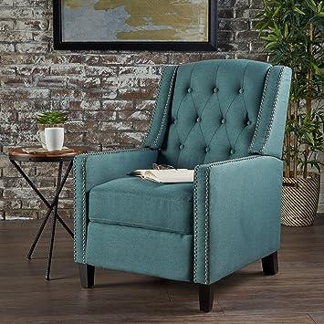 Izaak Tufted Back Fabric Recliner Chair (Dark Teal)