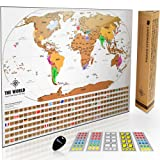 Landmass Scratch Off World Map Poster. Original Travel Tracker Map w/ Flags, US States, and Scratcher Tool. Clean Design and Vibrant Colors For Your Story To Come To Life. Perfect For Travelers.