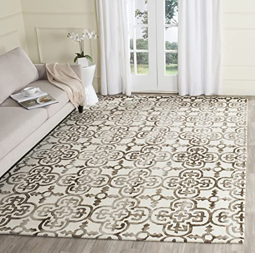 Safavieh Dip Dye Collection DDY711F Handmade Moroccan Geometric Watercolor Ivory and Brown Wool Area Rug 9 x 12
