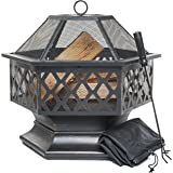 Prime Selection Products Outdoor Fire Pit for Garden and Patio, Large Hexagonal Fire Bowl; Includes Spark Guard, Poker and Protective Cover; Black and Bronze; 61 cm Width, 65 cm High