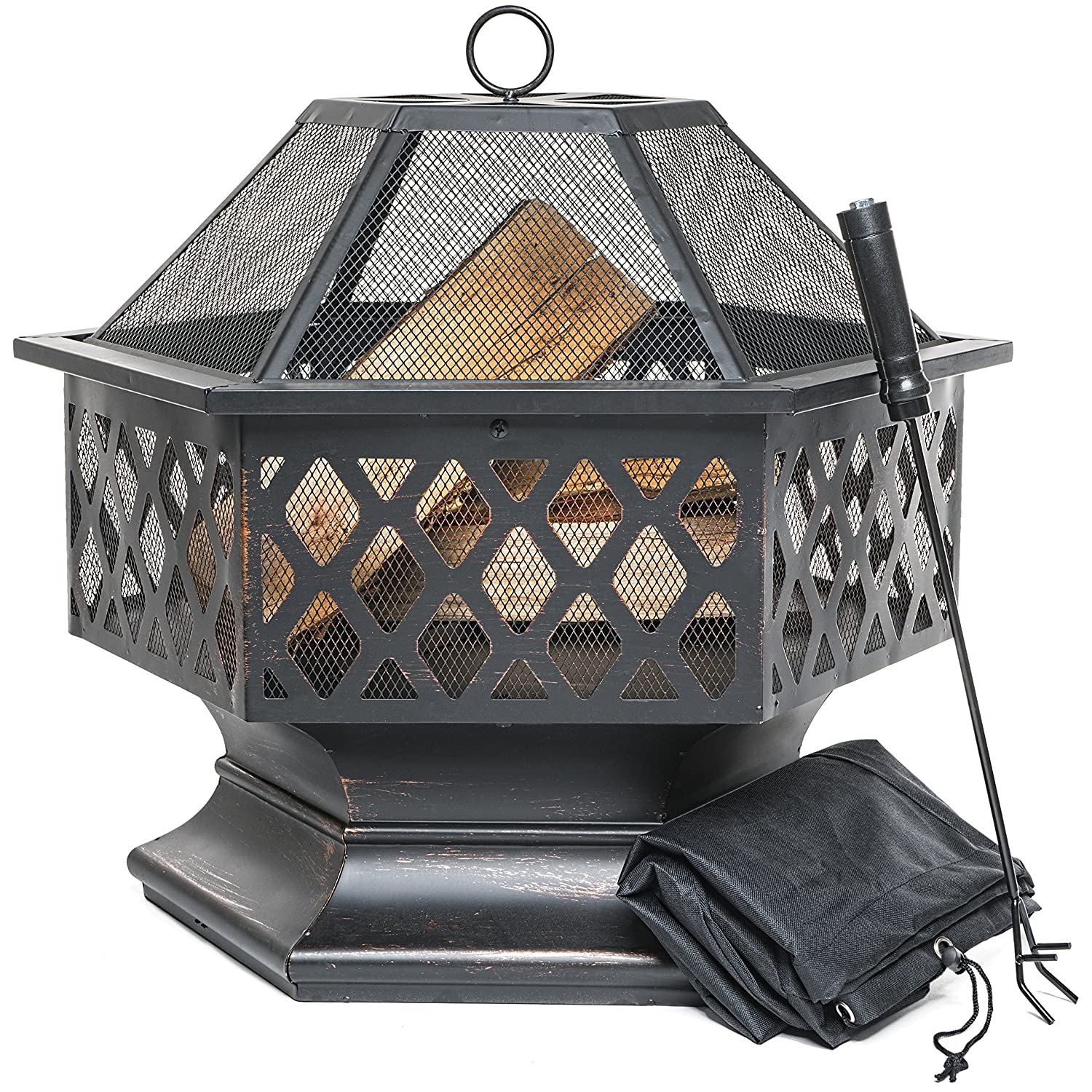 Outdoor Fire Pit for Garden and Patio, Large Hexagonal Fire Bowl; Includes Spark Guard, Poker and Protective Cover; Black and Bronze; 61 cm Width, 65 cm High - Foyer Extérieur Prime Selection Products
