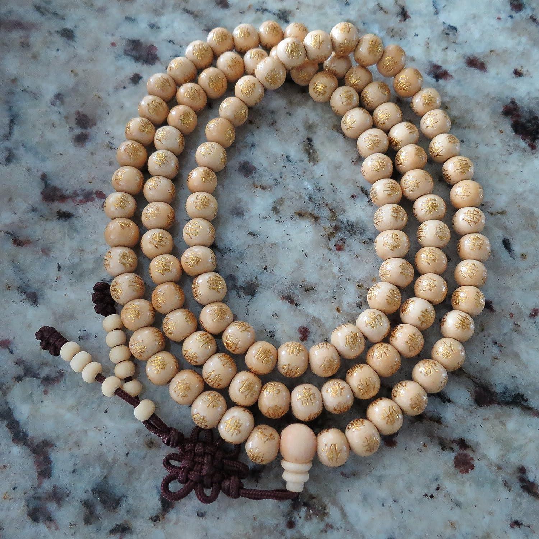 8.5mm*108 White Ebony Wood Prayer Beads Lettering Buddha Mala Necklace NonElastic Cord Miyallu (Ship from Canada)