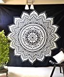 Folkulture Black White Mandala Tapestry Bohemian Hippie Wall Hanging Indian Boho Art Bedspread Ombre Bedding Blanket for Bedroom Decor - Black and White, Queen Size