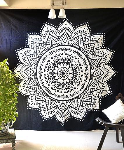 Amazon Com Black White Mandala Tapestry Bohemian Hippie Wall