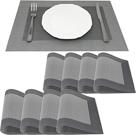 Amazon Com Allgala 8 Pack Dining Table Pvc Placemat Set Protect Table From Heat Stain Scratch And Anti Skid Style Silver Frame Hd80205 Home Kitchen
