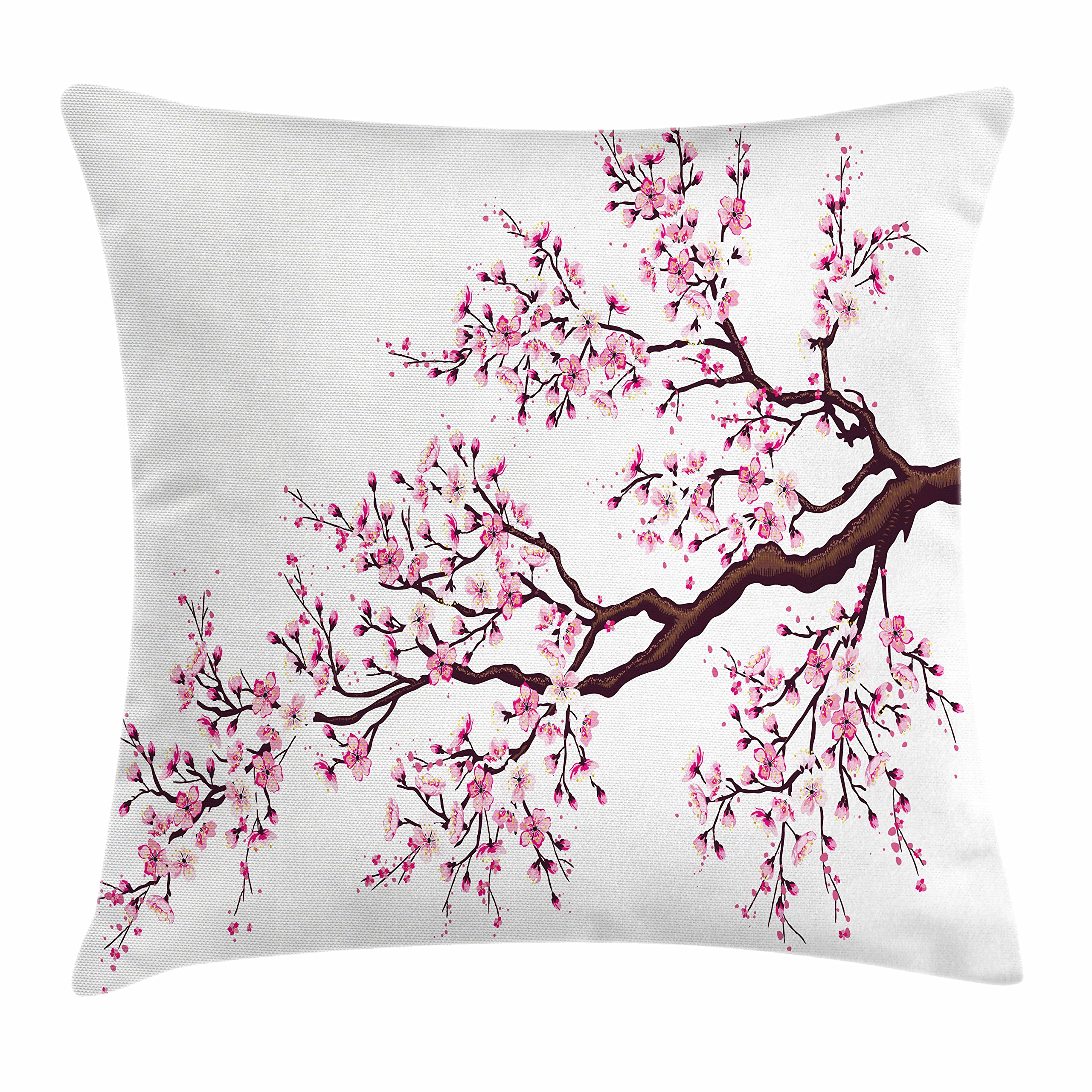 Ambesonne Japanese Throw Pillow Cushion Cover, Branch of a Flourishing Sakura Tree Flowers Cherry Blossoms Spring Theme Art, Decorative Square Accent Pillow Case, 18 X 18 Inches, Pink Dark Brown