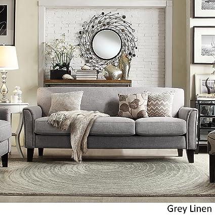 amazon com tribecca home uptown modern sofa grey linen kitchen rh amazon com