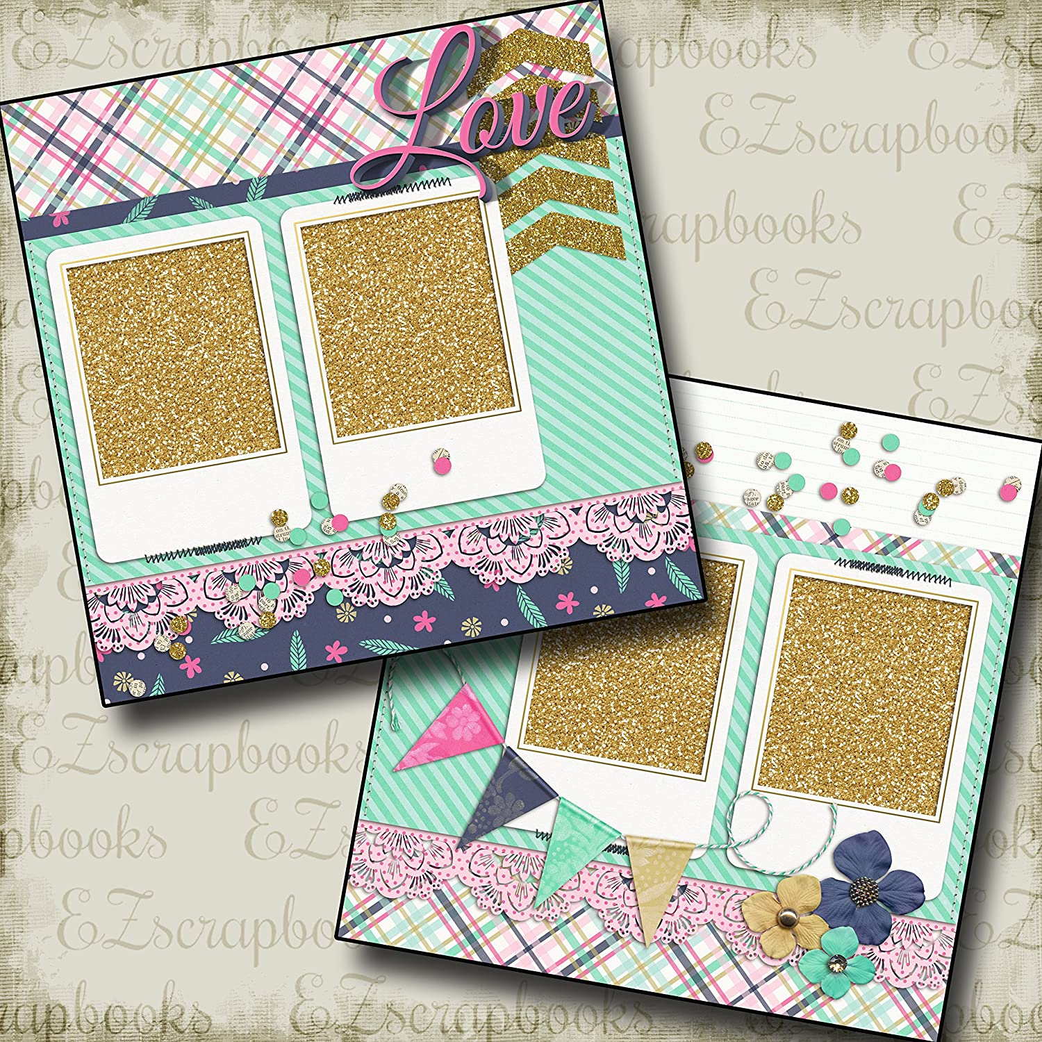 EZ Layout 4016 Premade Scrapbook Pages Dog Gone Cute Girl