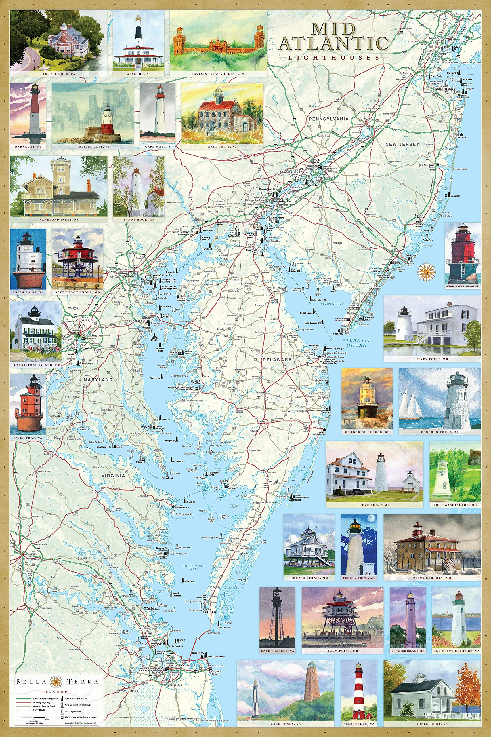 Mid-Atlantic Lighthouses: Illustrated Map & Guide Laminated ...