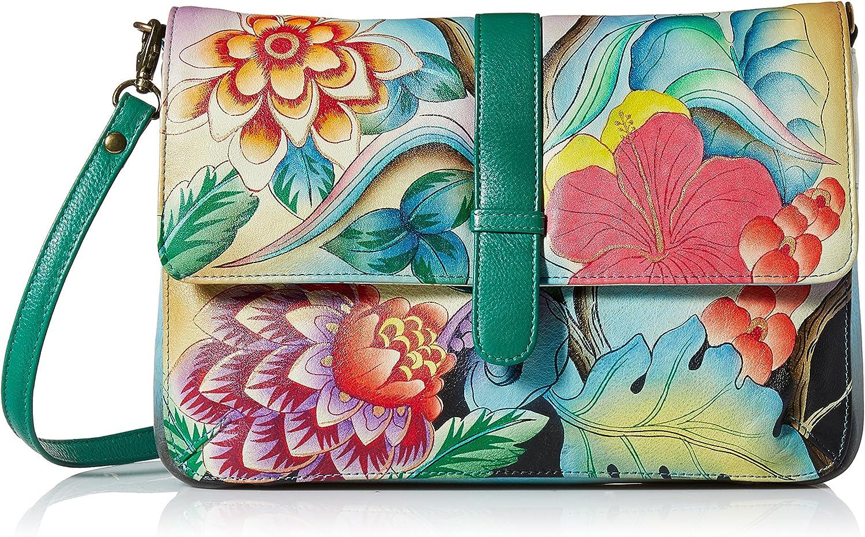 Anna by Anuschka Women's Genuine Leather Medium Flap-Over Messenger Style Shoulder Bag| Hand Painted Original Artwork