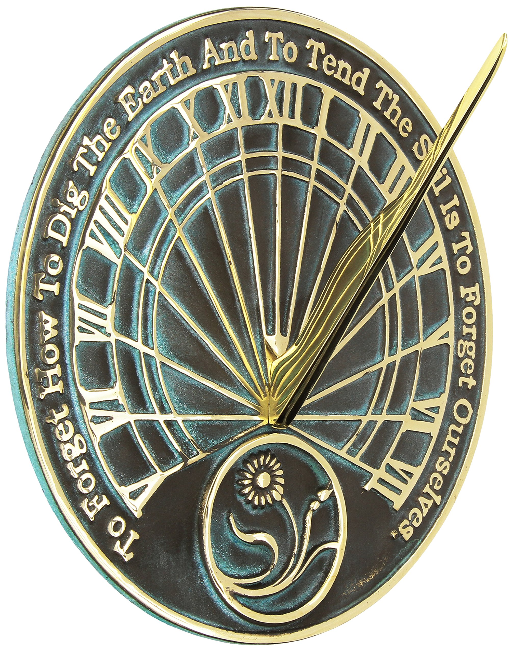 Rome 2325 Gardeners Reflection Sundial, Solid Brass with Verdigris Highlights, 10-Inch Diameter