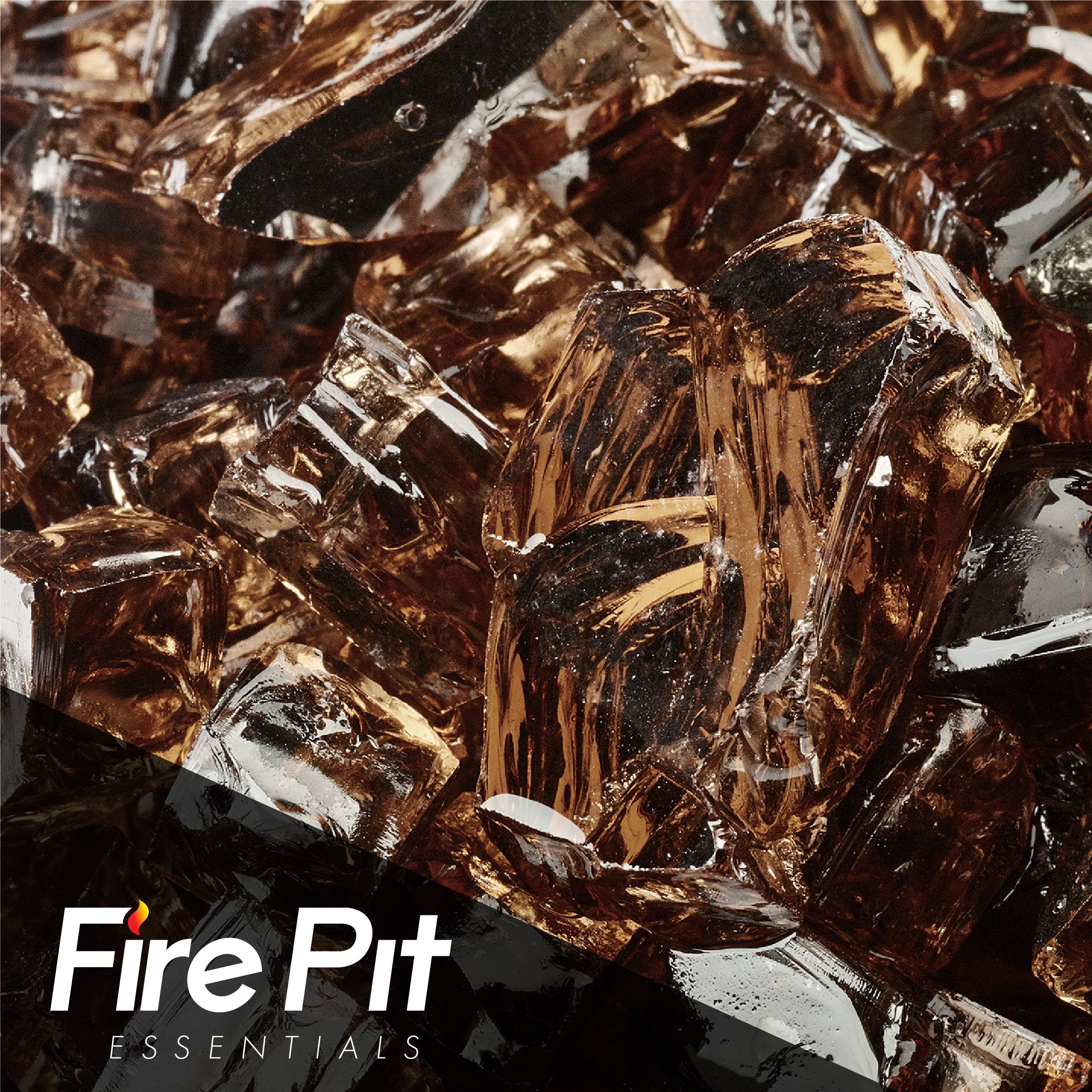 Copper Reflective Fire Glass 1/2'' Firepit Glass Premium 10 Pounds