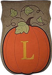 JEC Home Garden Flag Monogram Fall Pumpkin Burlap Autumn Garden Flag 12.5 x 18 (L)
