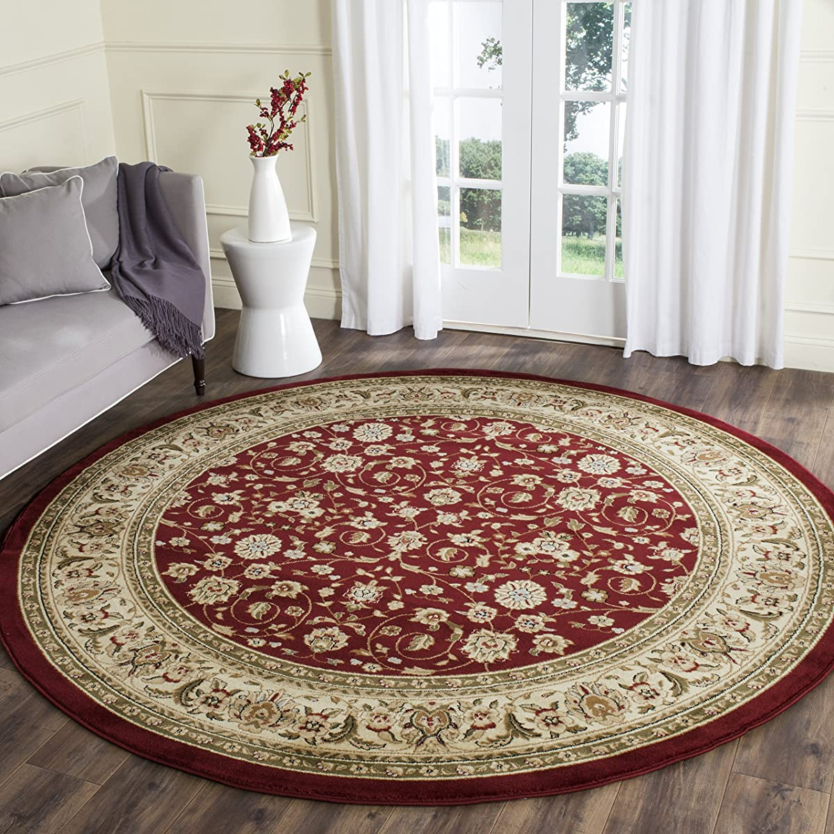 "Safavieh Lyndhurst Collection LNH312A Traditional Oriental Red and Ivory Round Area Rug (53"" Diameter)"