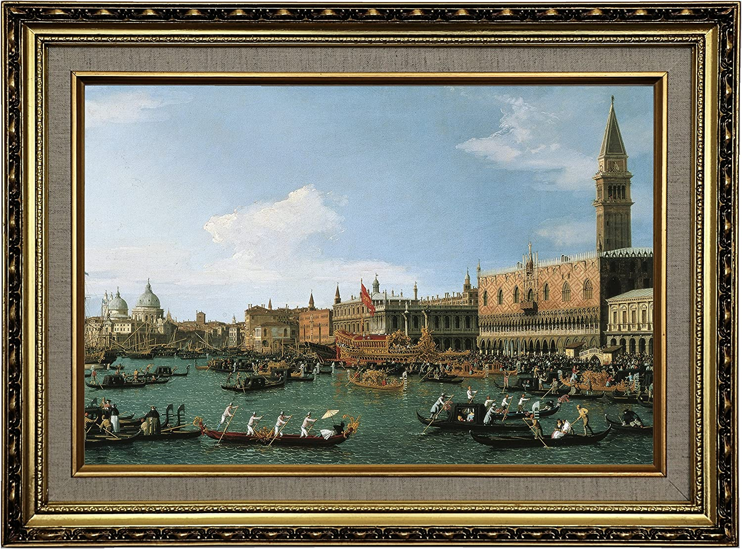 Amazon Com Historic Art Gallery Return Of Il Bucintoro On Ascension Day 1745 By Canaletto Framed Canvas Print Size 12x18 Gold Posters Prints