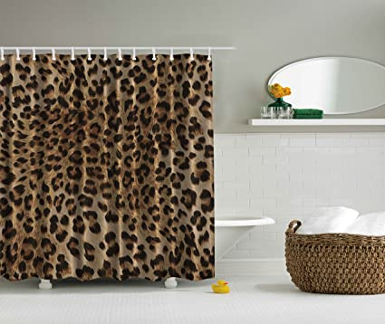 Ambesonne Bathroom Accessories Leopard Print Sexy Shower Curtain Nearly Natural Wildlife Safari Decorations Big Cat