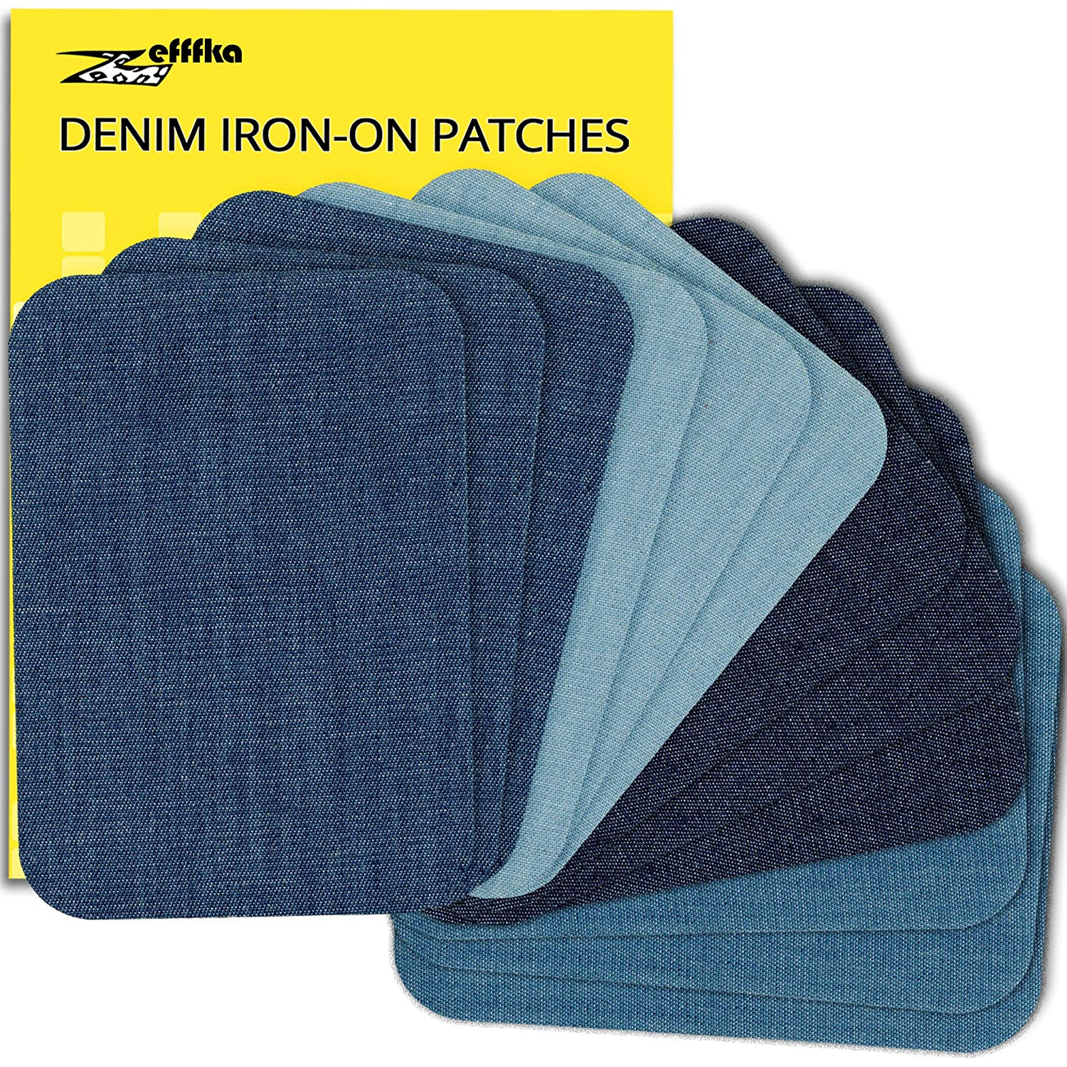 ZEFFFKA Premium Quality Denim Iron On Jean Patches Shades of Blue 12 Pieces Cotton Jeans Repair Kit 3