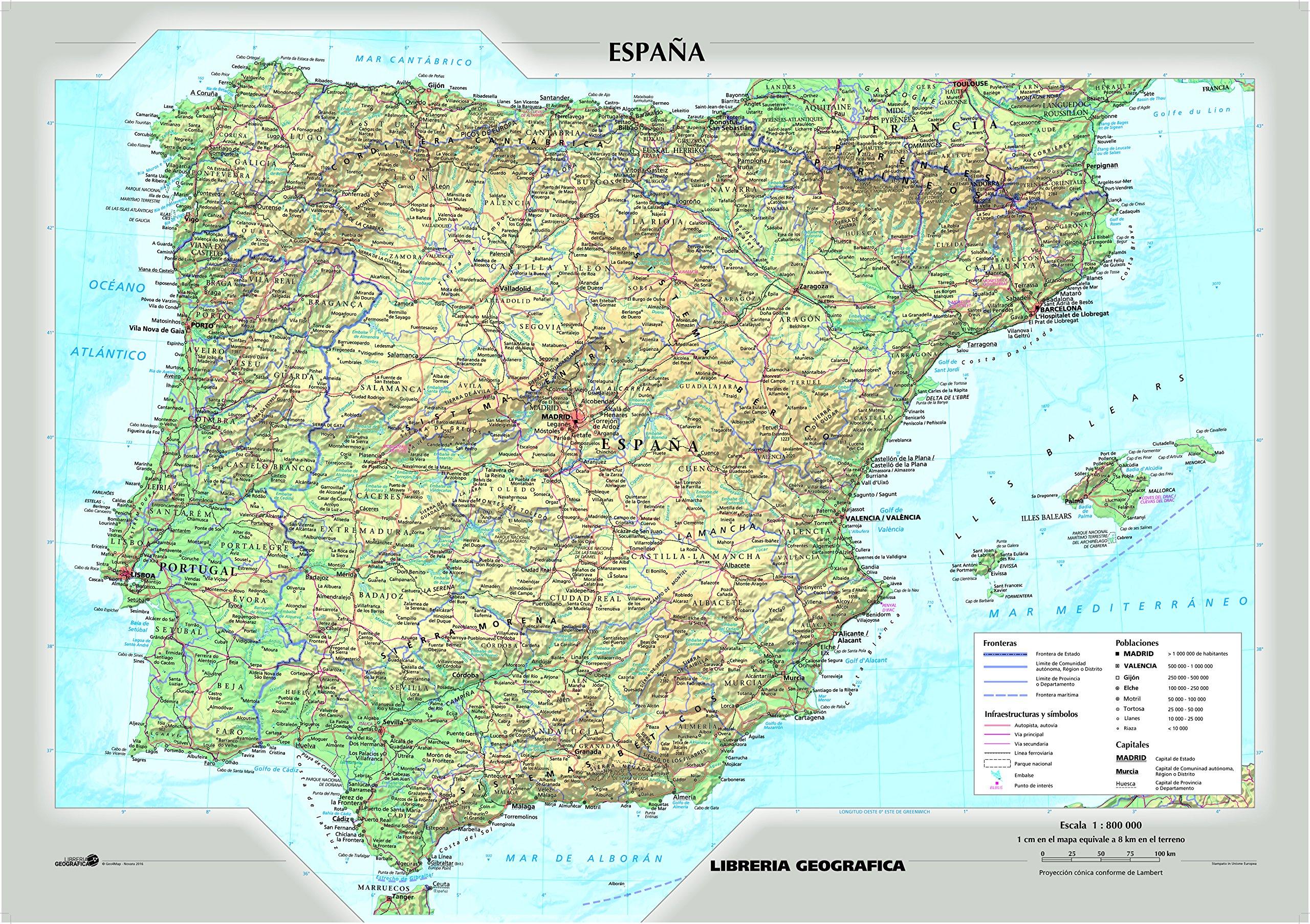 Cartina Politica Spagna E Portogallo.Amazon It Spagna Fisica E Politica Carta Murale Libri
