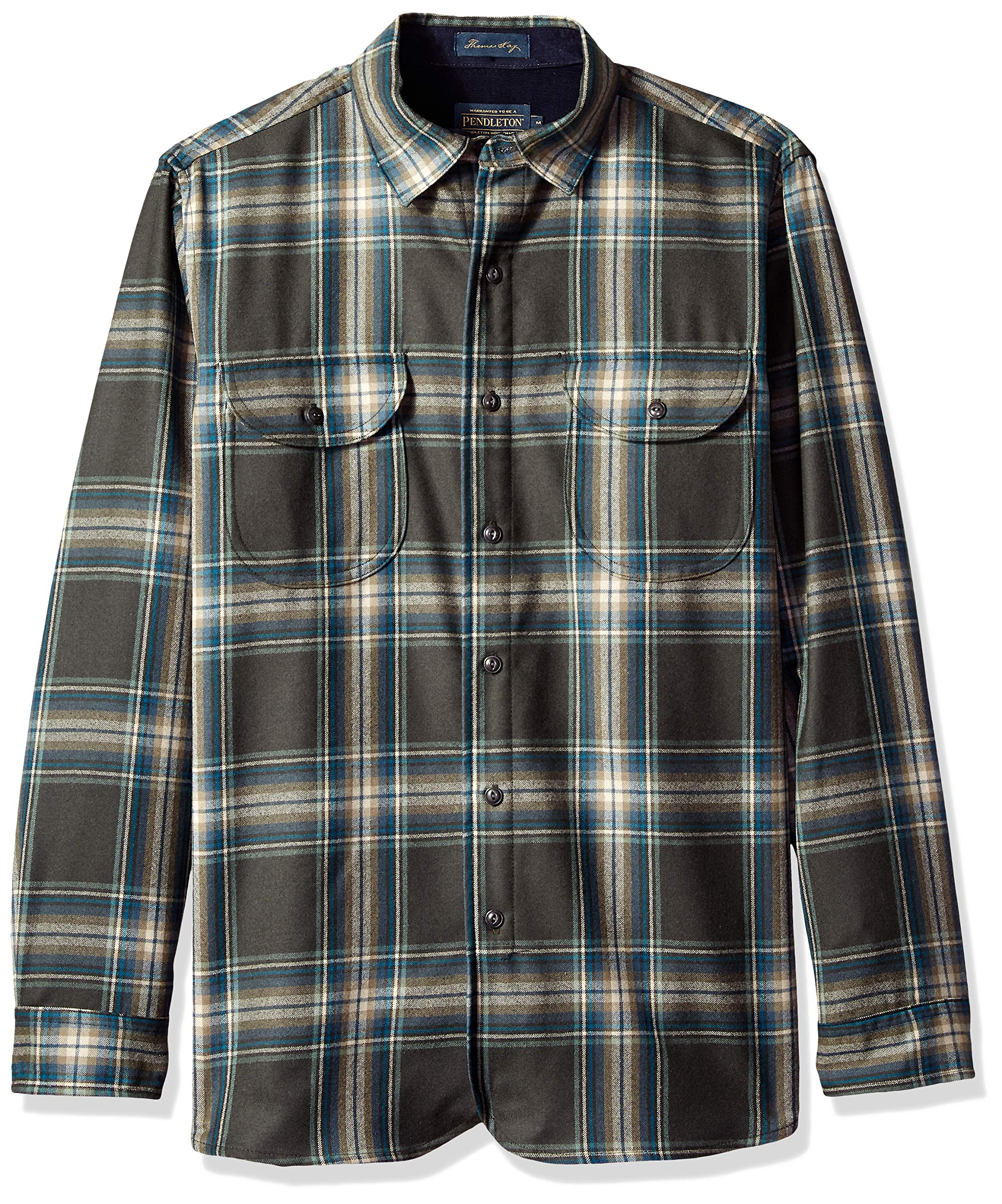 a5c36e86 Galleon - Pendleton Men's Long Sleeve Fitted Buckley Shirt, Grey/Blue  Plaid, SM