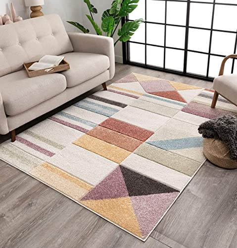 Well Woven Salle Soft Pastel Multi Color Triangle Boxes Squares Geometric Area Rug 8×10 7 10 x 9 10