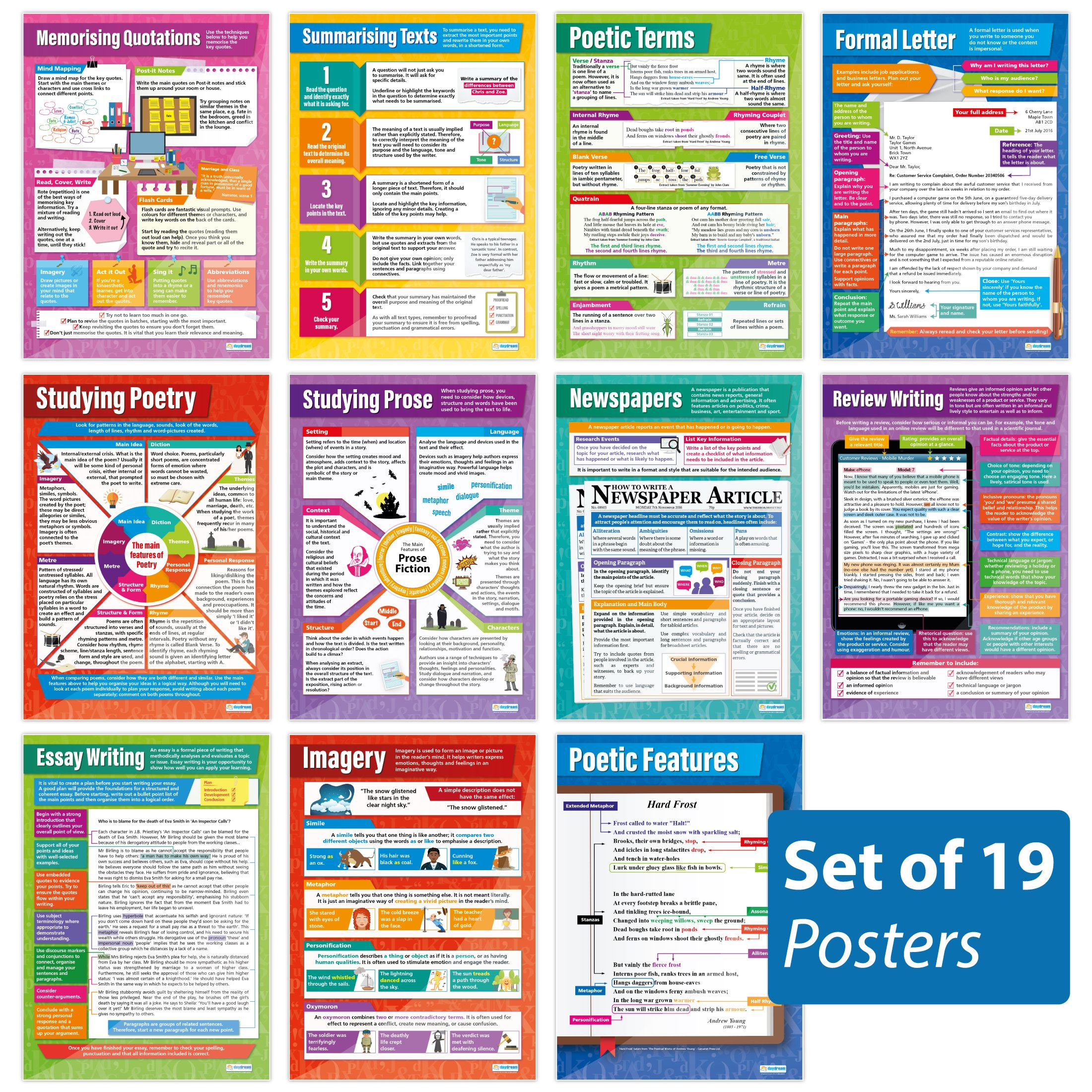 """Daydream Education Set of 19 Reading and Writing Posters 